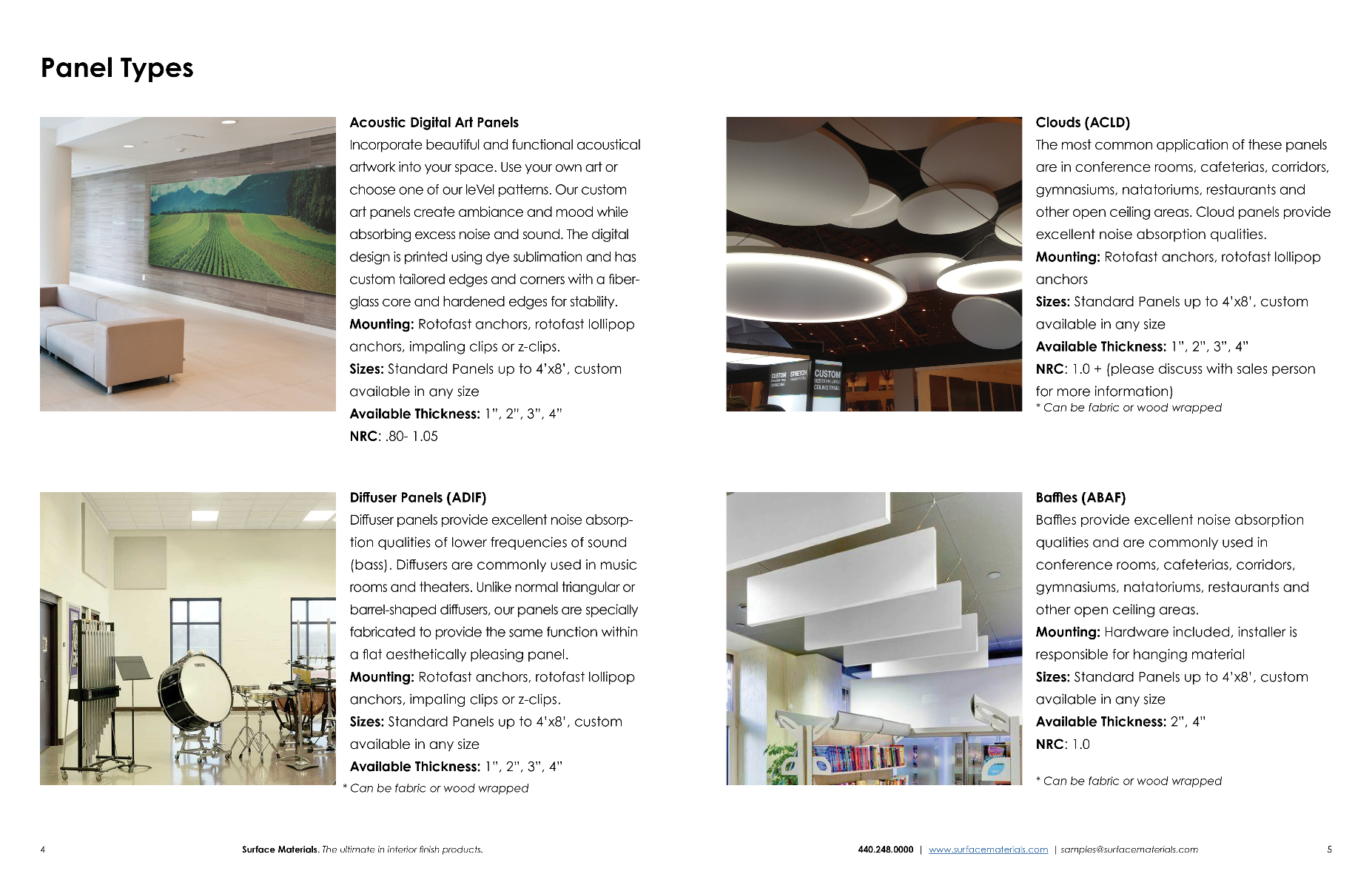 Third Page of Acoustic Solutions Brochure